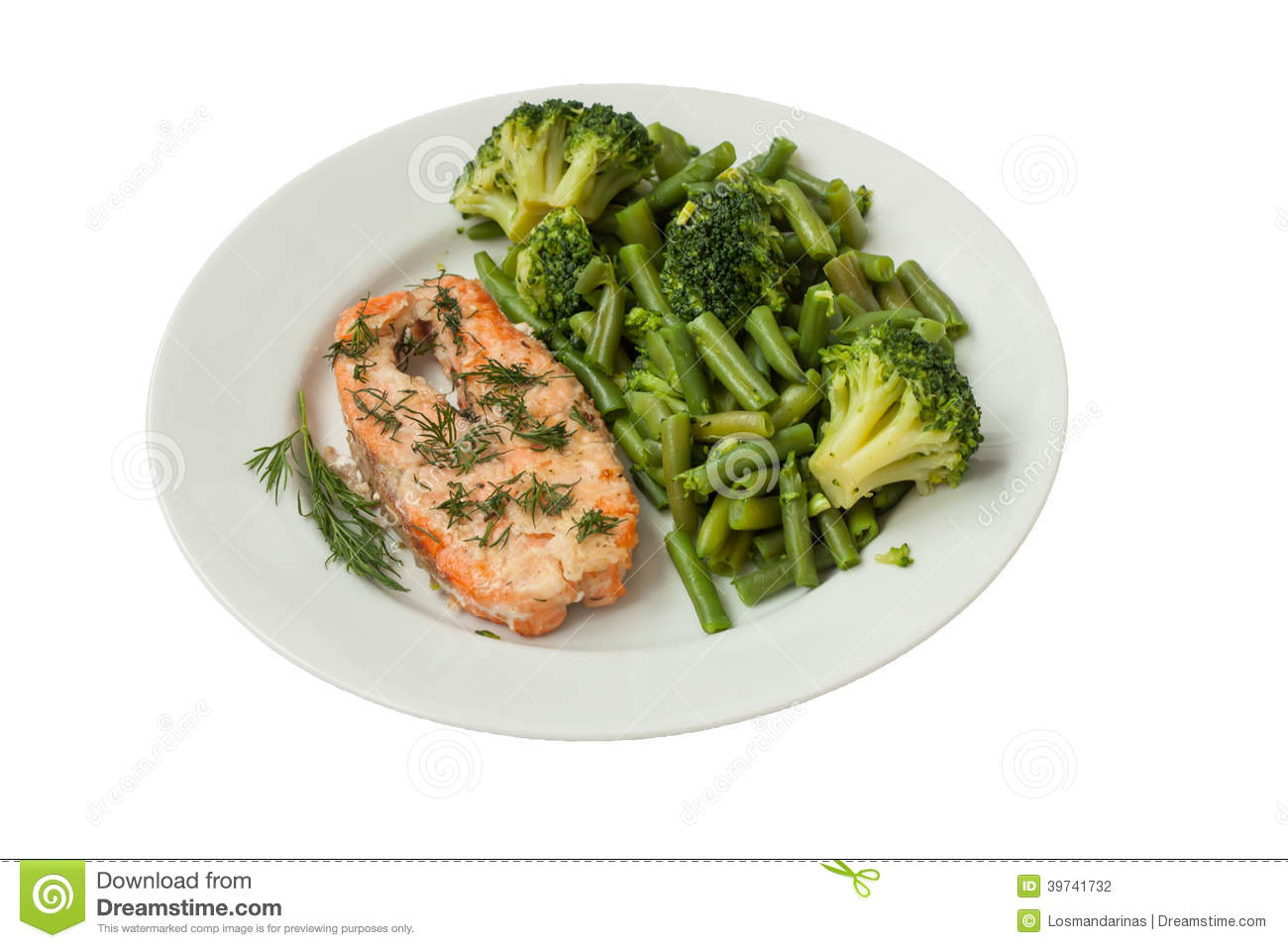 Roast fish with green vegetables on a white plate isolated for What vegetables go with fish