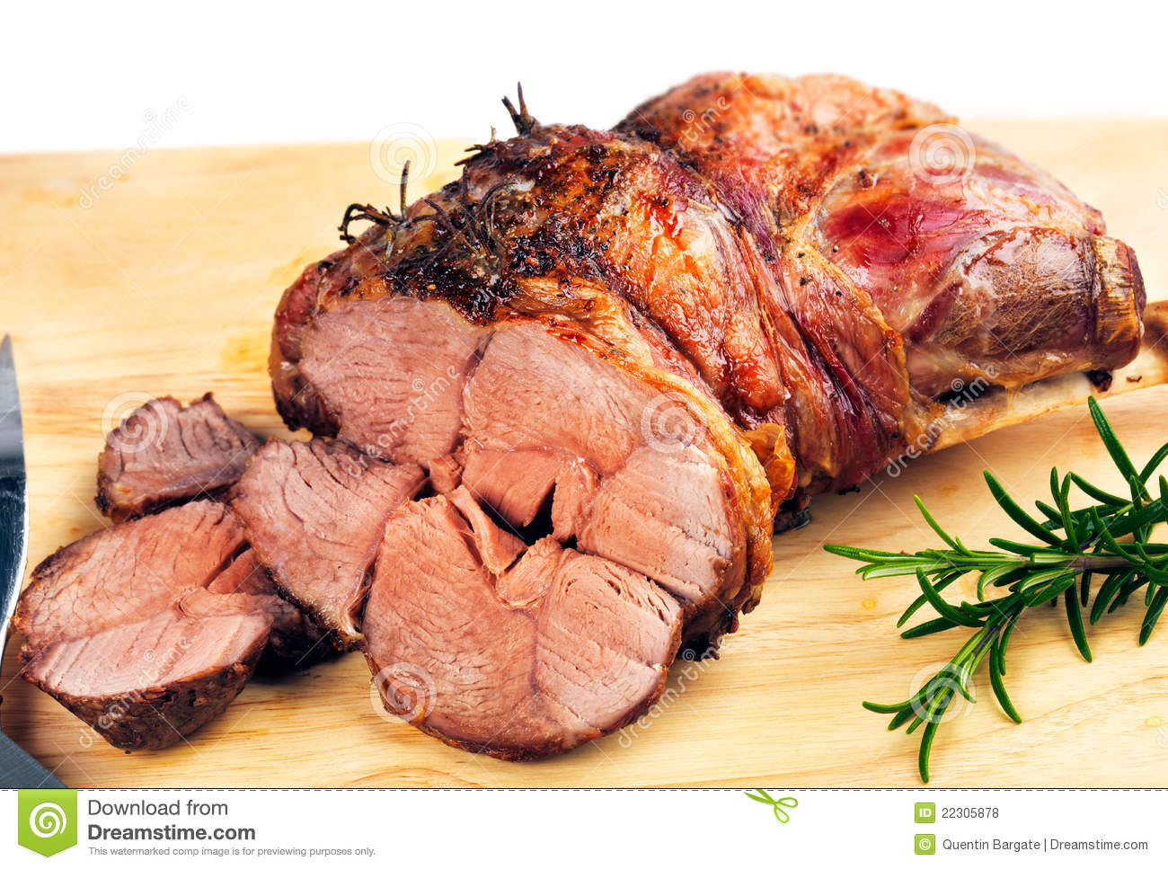 Freshly roasted leg of Lamb with Rosemary herb.