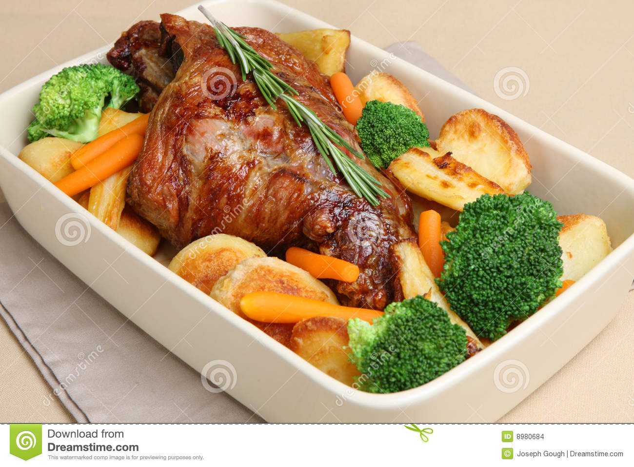 Roast leg of lamb with roast potatoes, parsnips, broccoli and carrots.