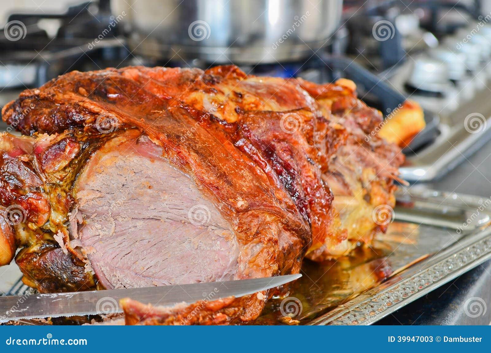 Roast Leg Of Lamb Stock Photo - Image: 39947003
