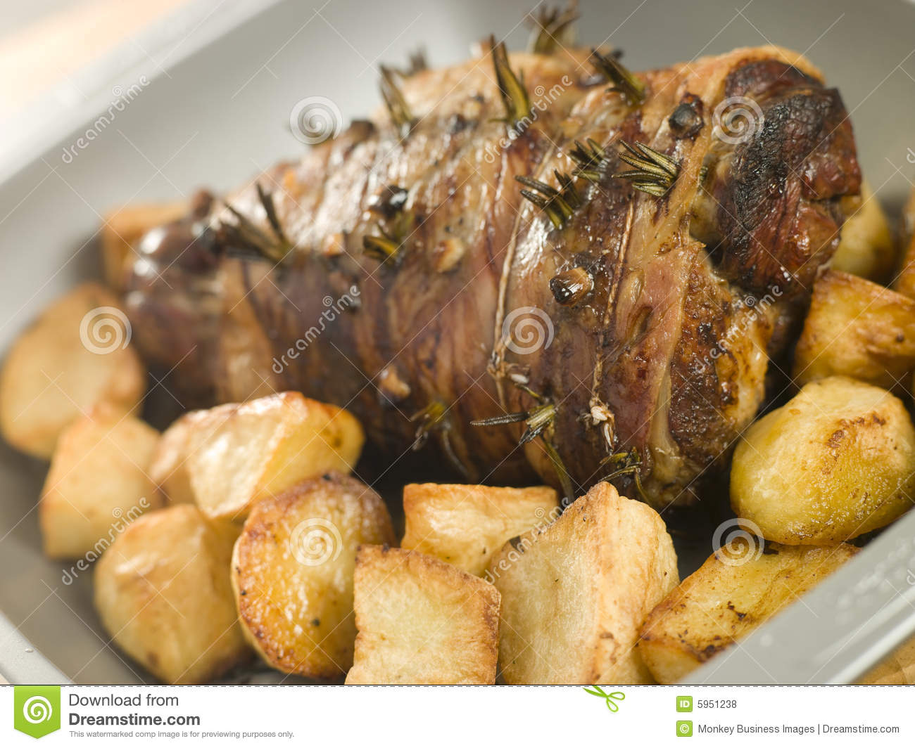 Roast Leg Of Lamb Studded With Rosemary And Garlic Royalty ...