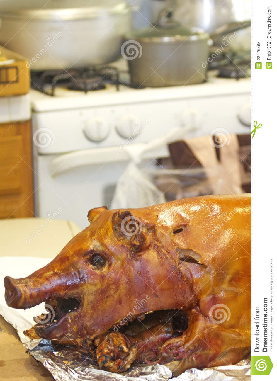 Roast Pig in the Kitchen