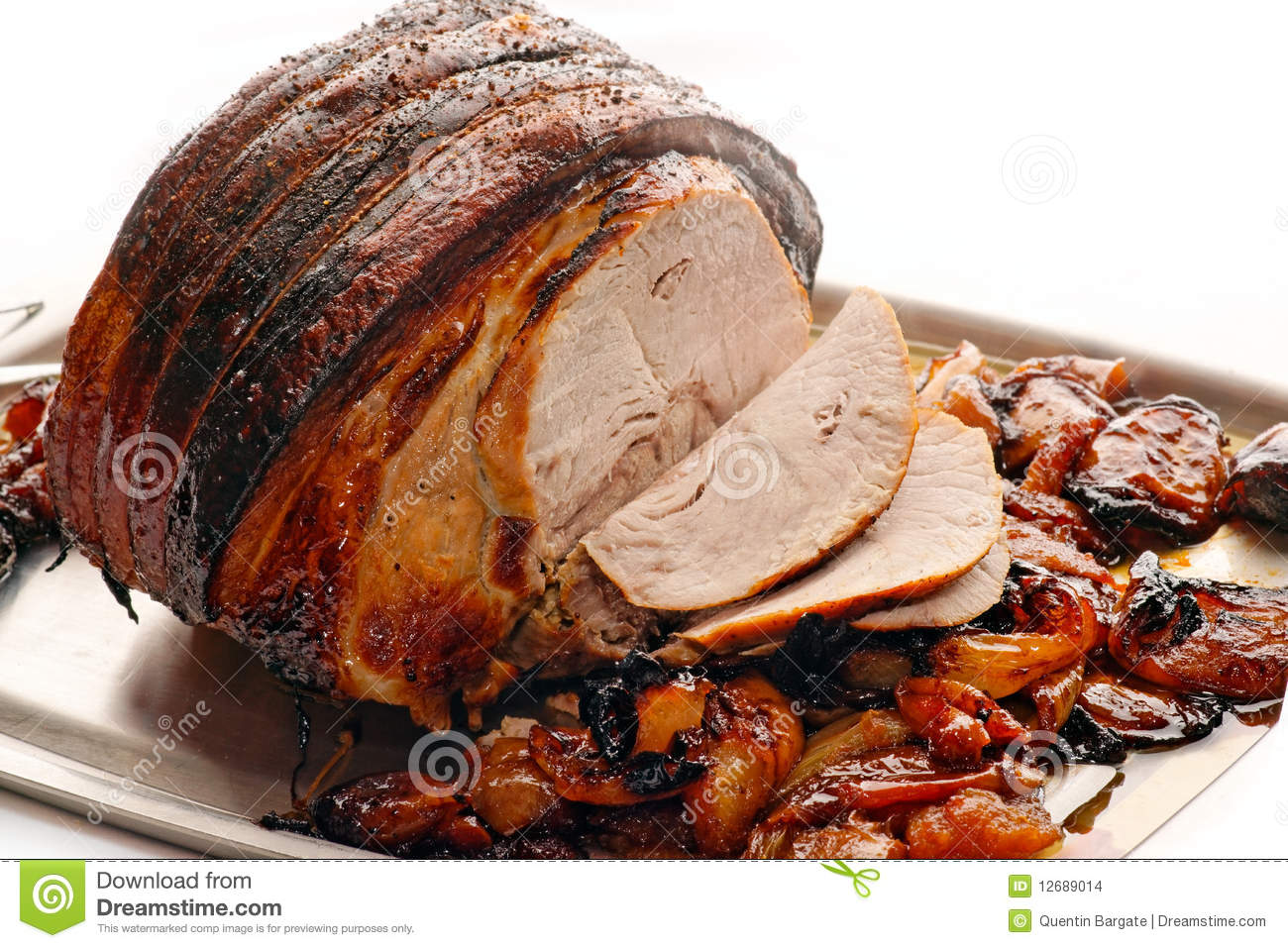 Roast Pork with apples and onion. This is a delicious joint of roast ...