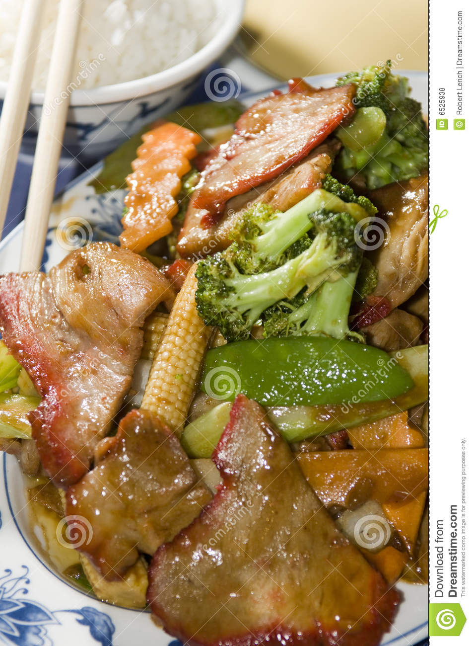 Roast Pork With Mixed Chinese Vegetables Royalty Free Stock Photos ...