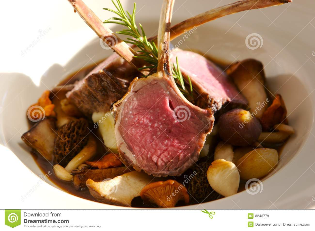 Roasted rack of Lamb on a bed of mushrooms.