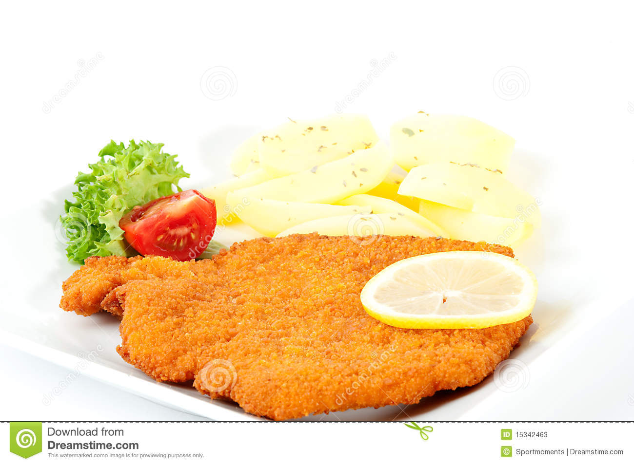 roast with sidedishes wiener schnitzel mit beilagen stock image 472675. Black Bedroom Furniture Sets. Home Design Ideas