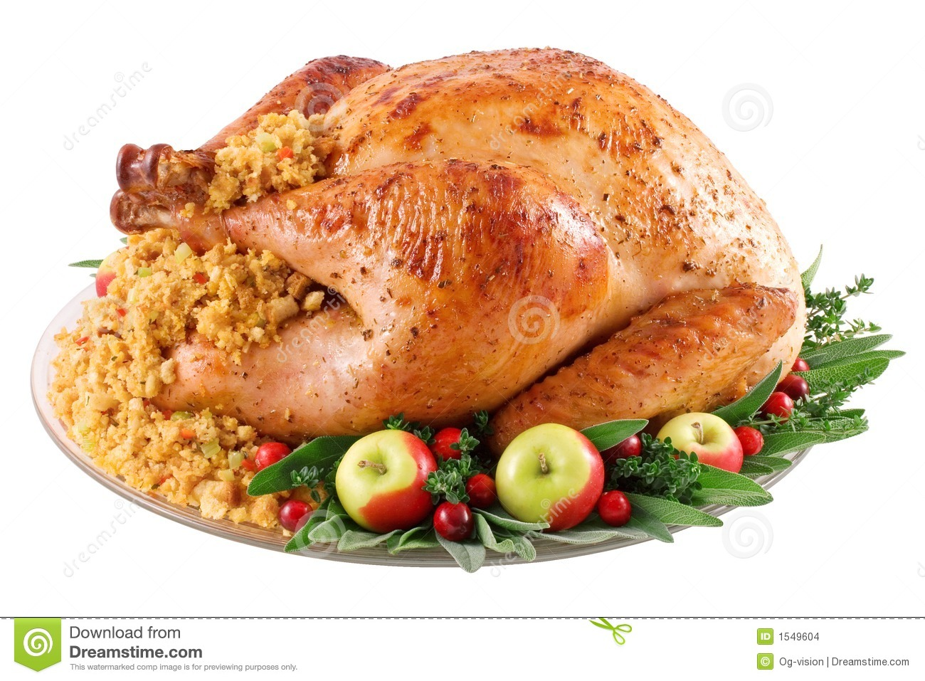 Roast turkey with cornbread stuffing on a platter. Image isolated on ...