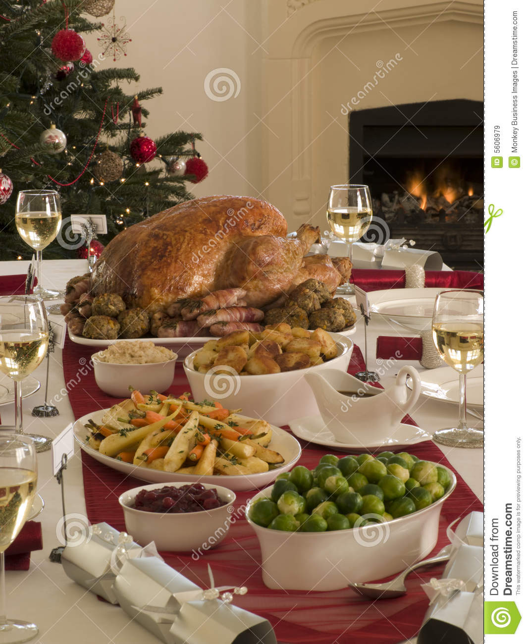 Roast Turkey Christmas Dinner Stock Image Image Of Cutlery