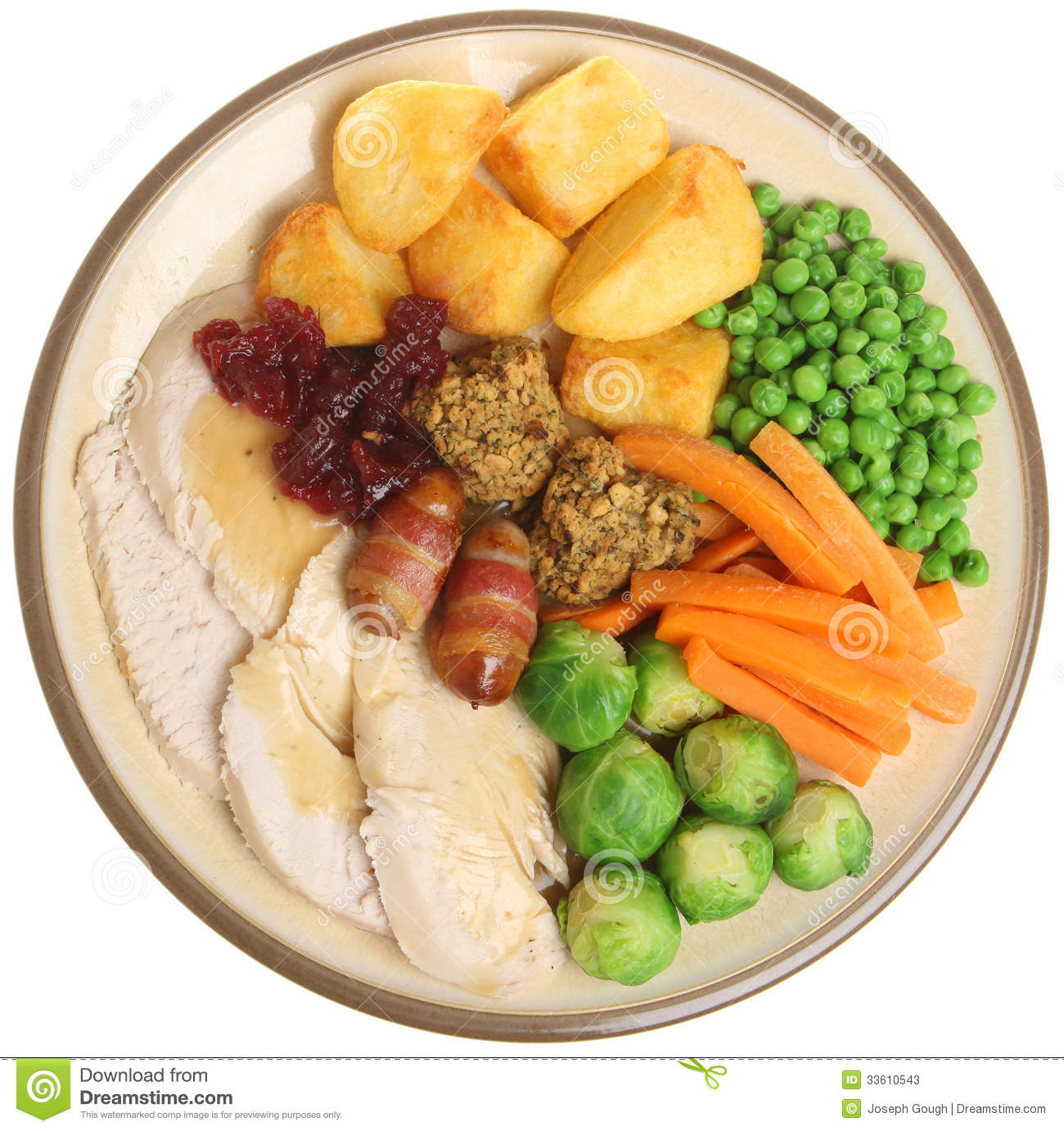 Roast turkey christmas dinner stock photos image 33610543 for Thanksgiving dinner with all the trimmings