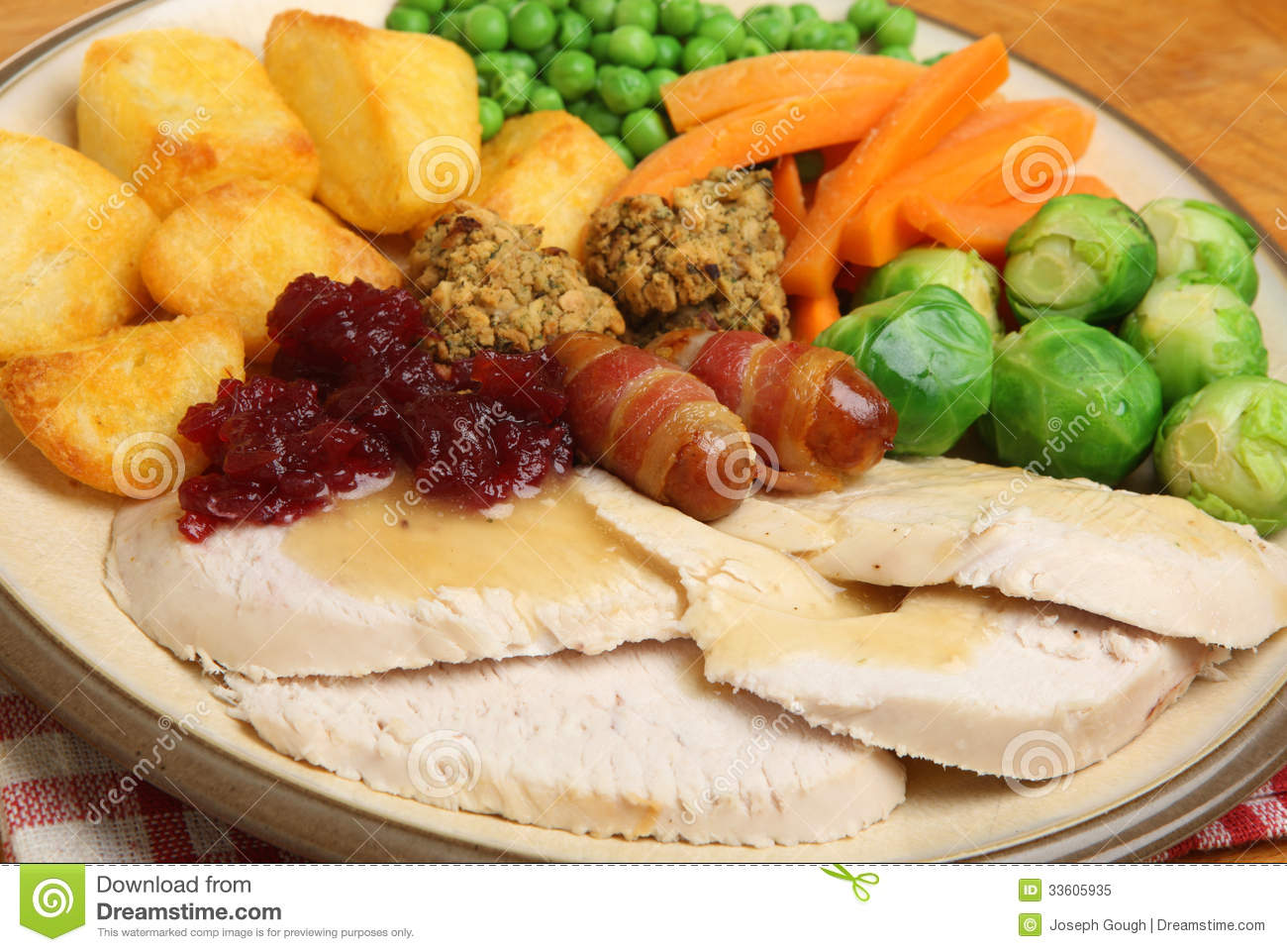 Roast Turkey Christmas Dinner Royalty Free Stock Photo - Image ...