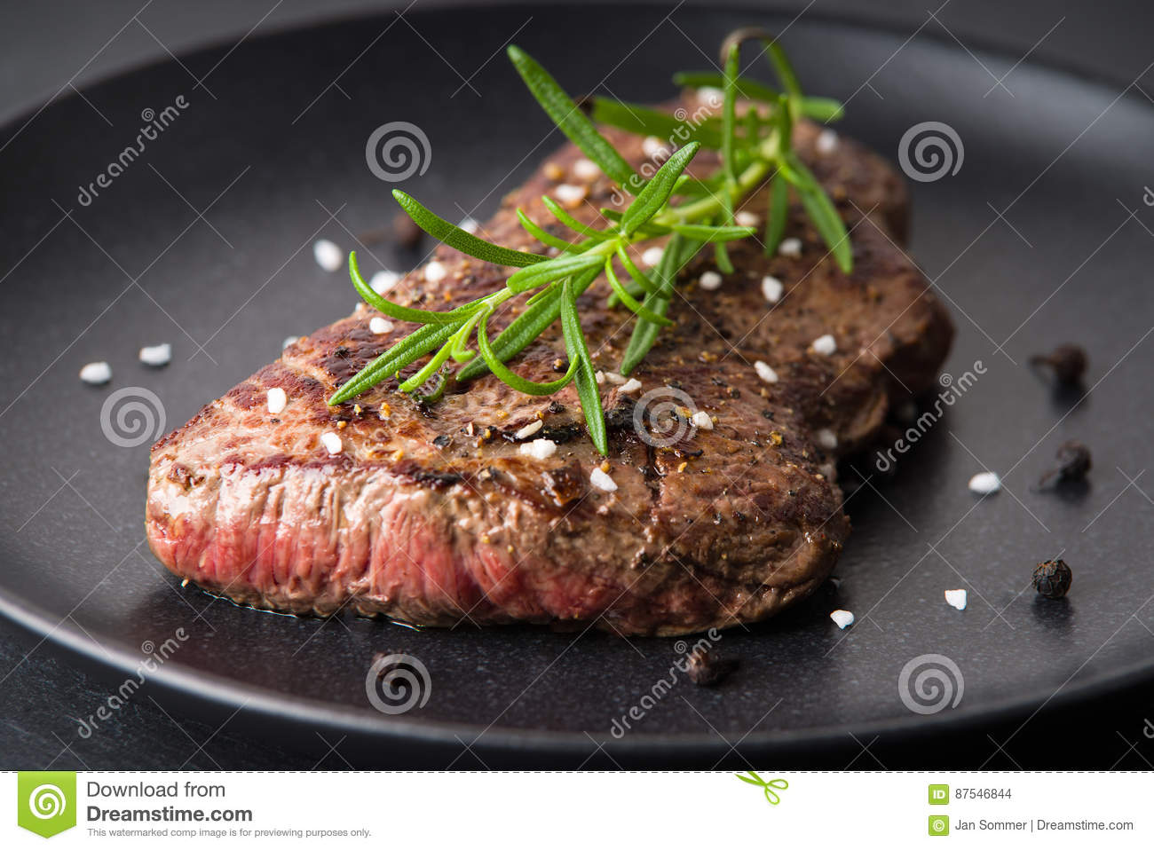 Download Roasted beefsteak stock photo. Image of round, pepper - 87546844