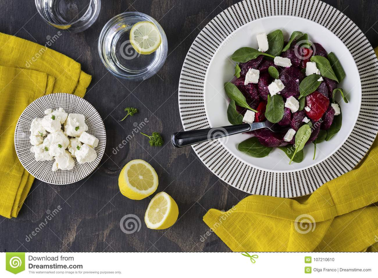 Beetroot, feta and spinach salad