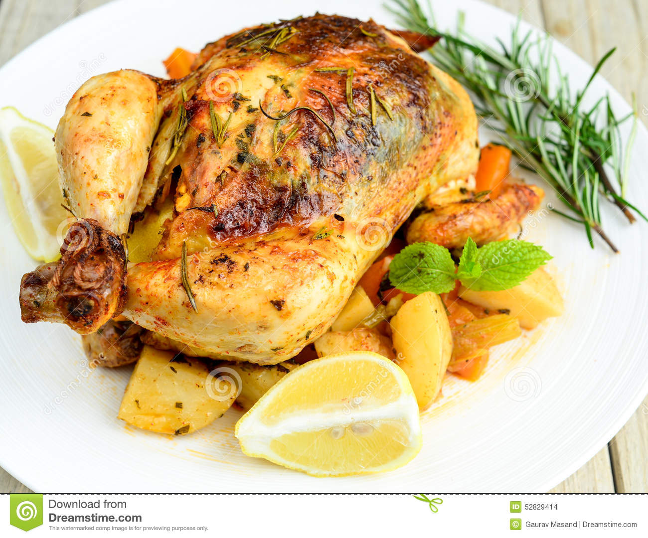 Roasted chicken with dill sweet lime and mint