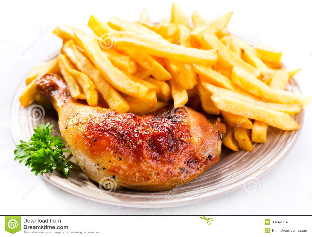 Roasted Chicken Leg With Fries Potato Stock Photo Image Of