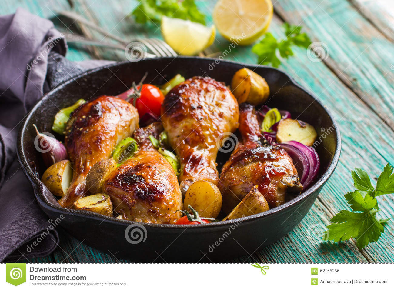 Roasted Chicken Legs With Vegetables Stock Photo Image