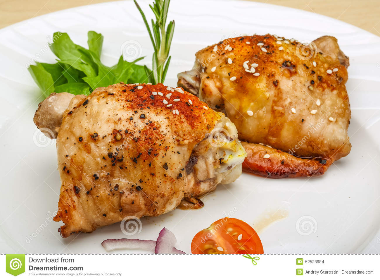 Roasted Chicken Thighs Stock Photo - Image: 52528984