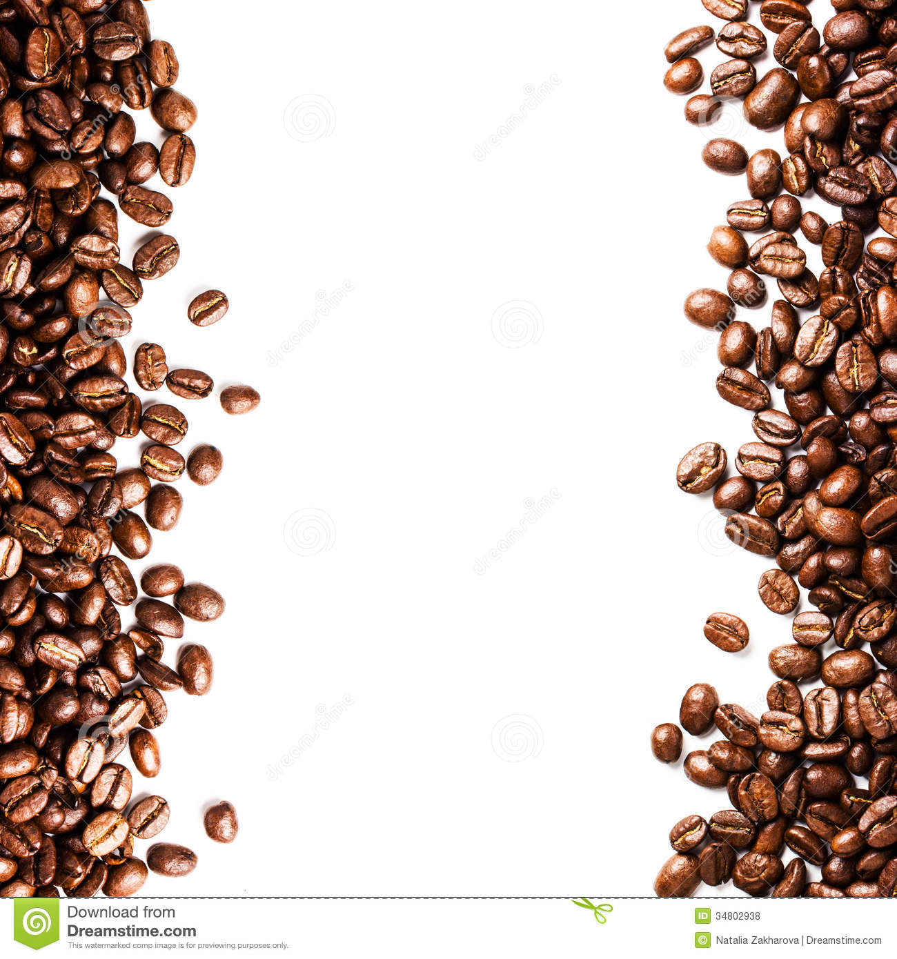 Roasted Coffee Bean Background Isolated On White Background. Clo ...