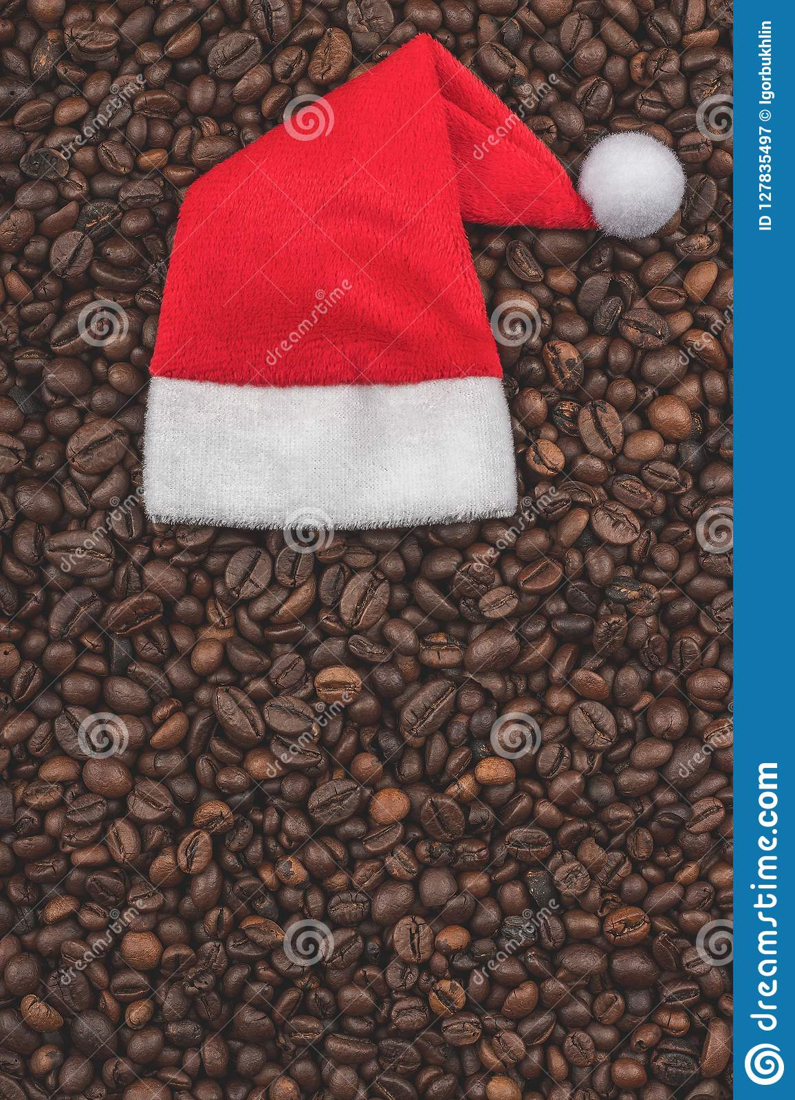 roasted coffee beans background close up view happy new year and christmas