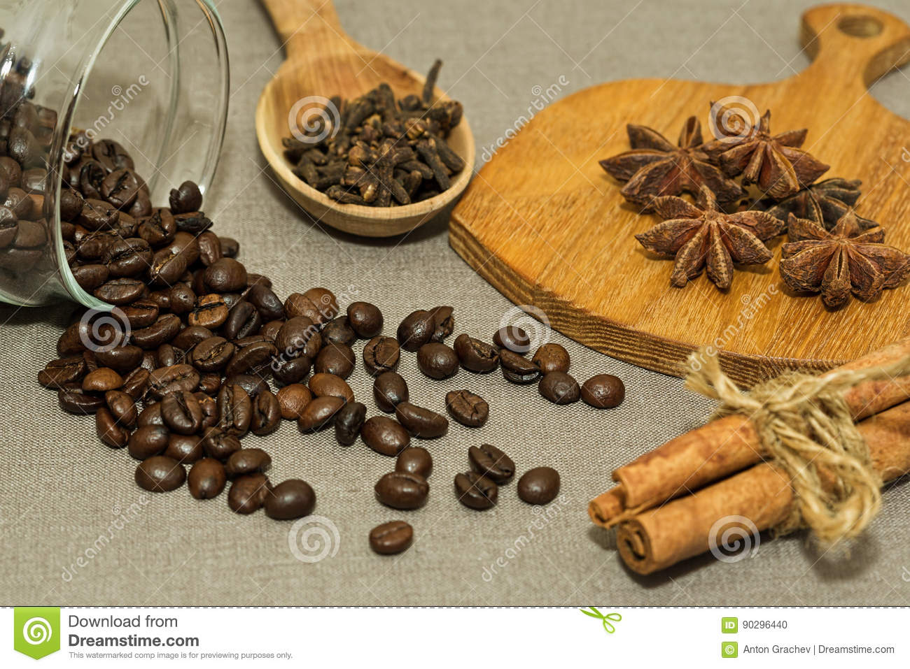 Roasted coffee beans and different spices