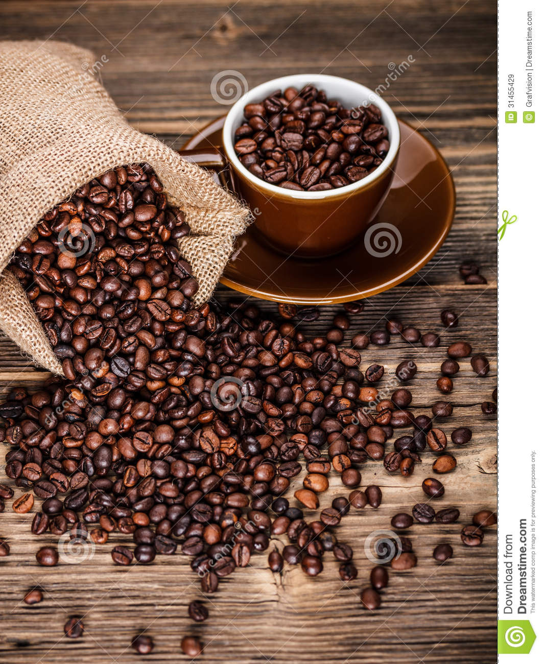 Roasted Coffee Beans Stock Image Image Of Seeds Jute