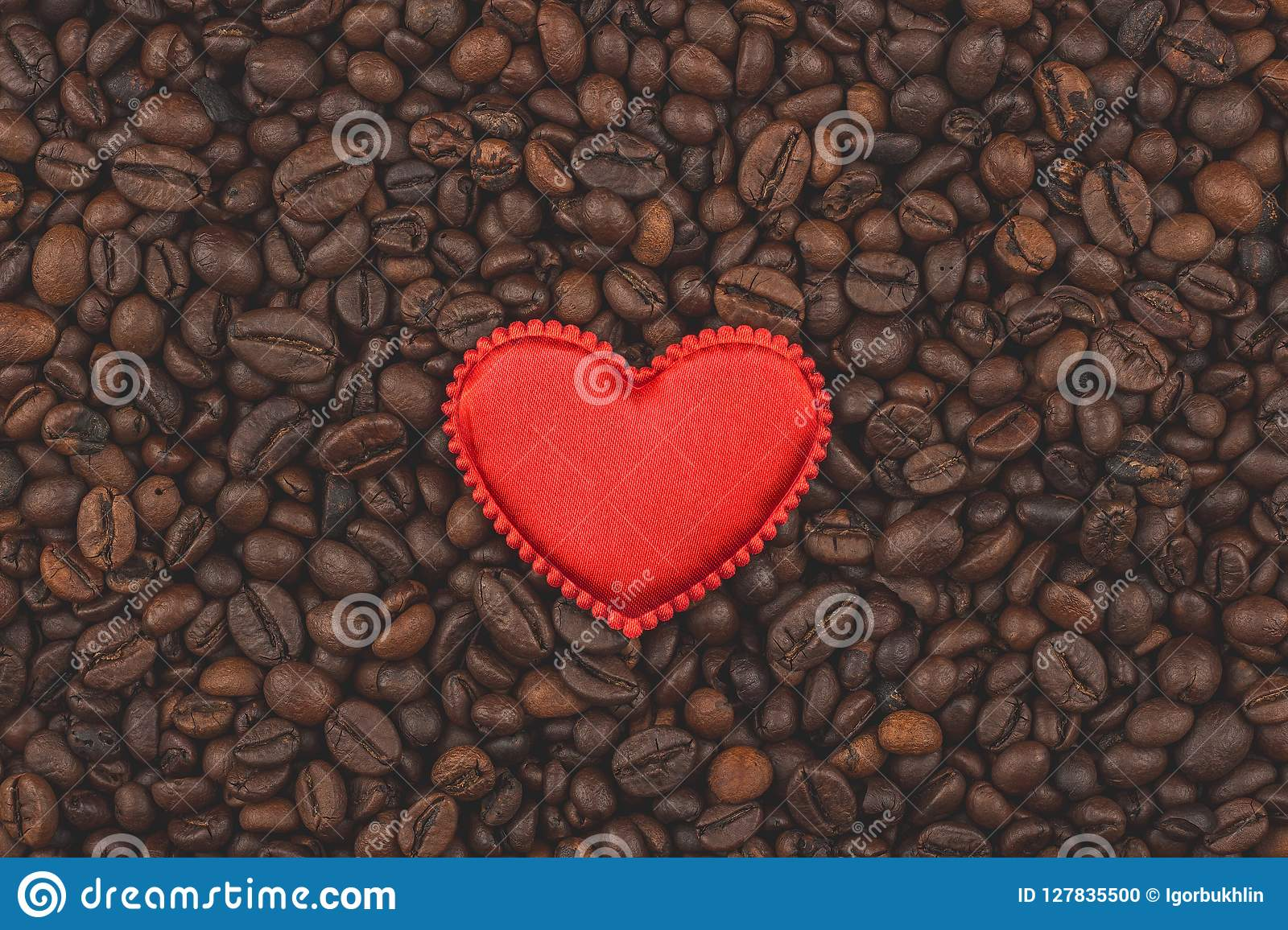 Roasted Coffee Beans I Love Coffee Background Close Up View
