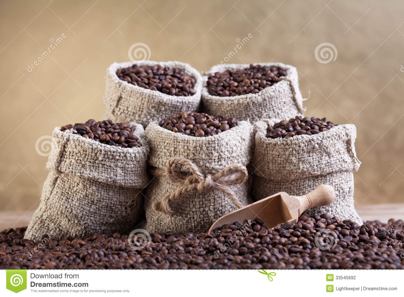 roasted coffee beans in small burlap bags stock photo image of beans taste 33545692. Black Bedroom Furniture Sets. Home Design Ideas