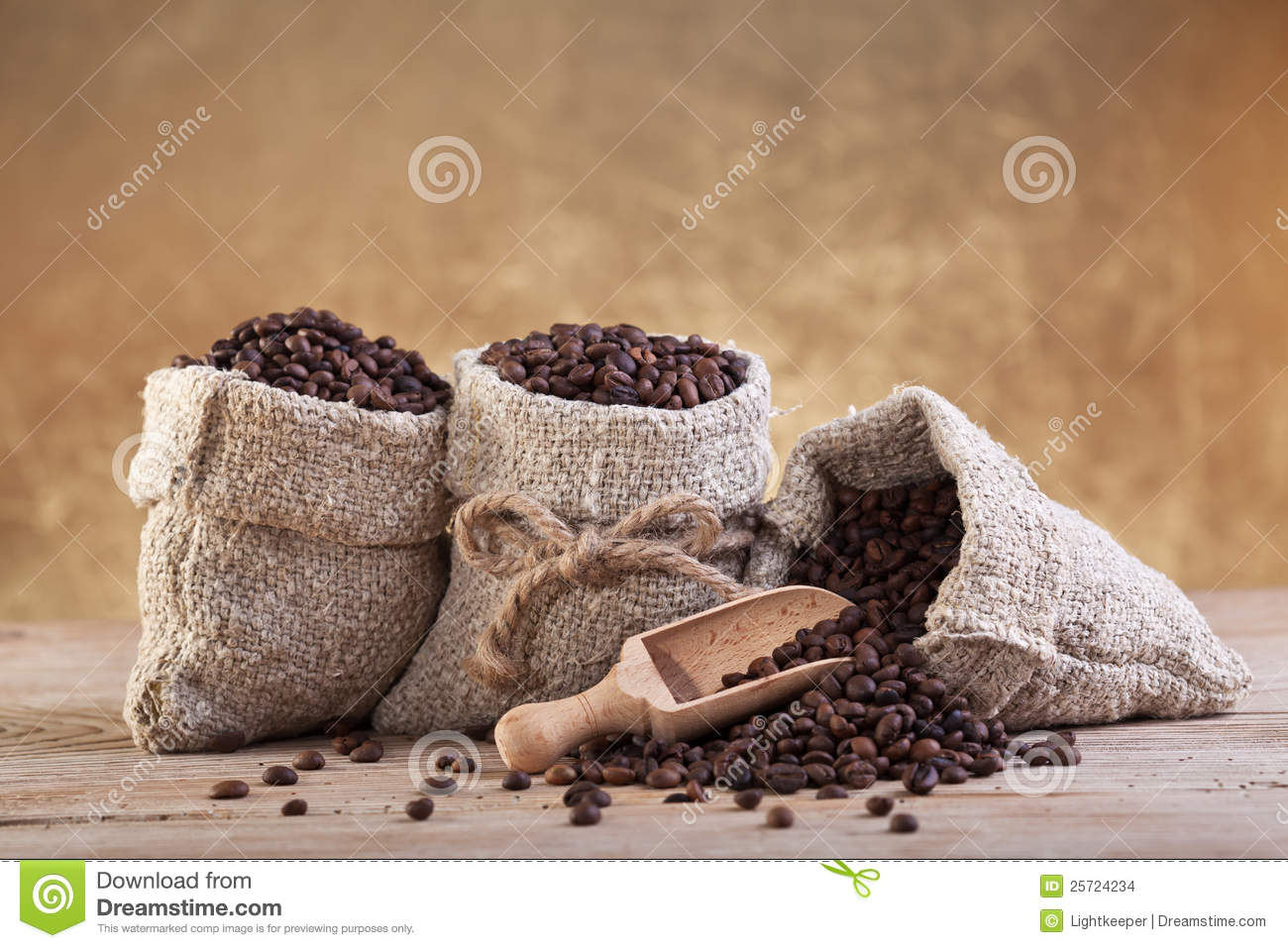 Roasted Coffee In Burlap Bags Stock Photo - Image: 25724234