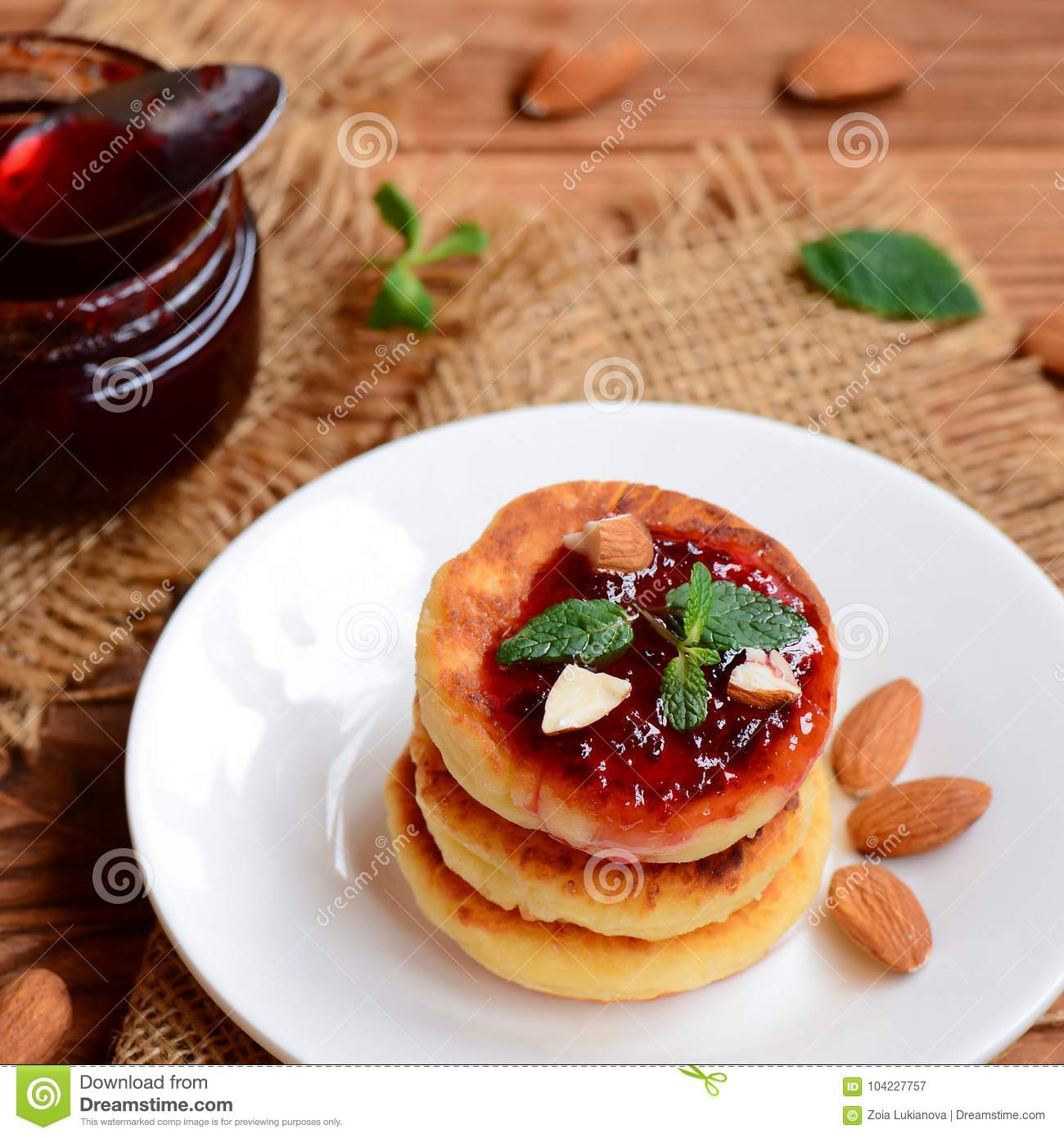 Cottage Cheese With Jam: Roasted Cottage Cheese Pancakes With Berry Jam, Almonds
