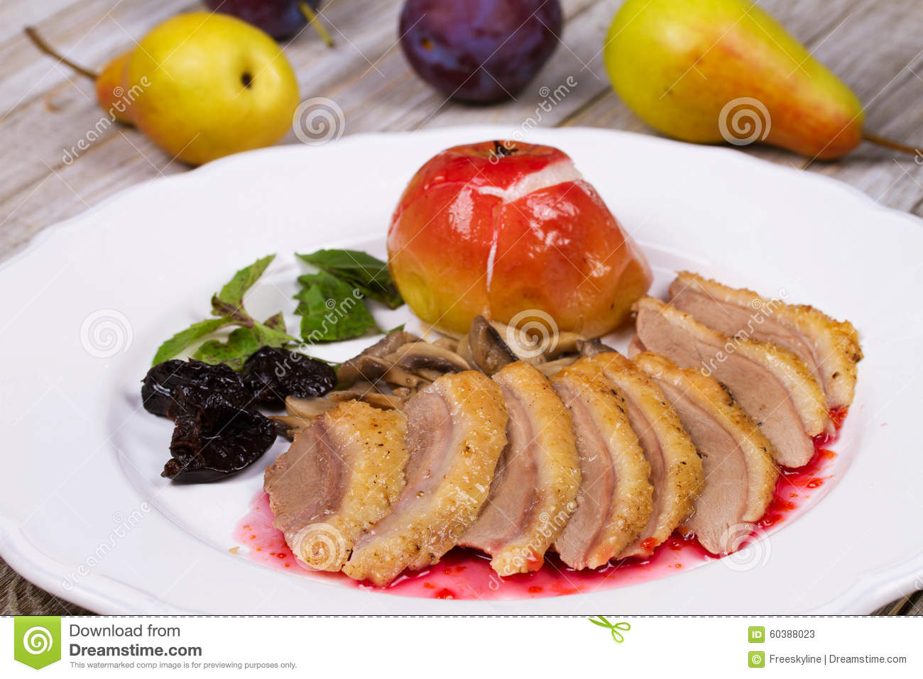 Roasted Duck Breasts with Mushroom, Apple and Plums Stuffing in Red ...