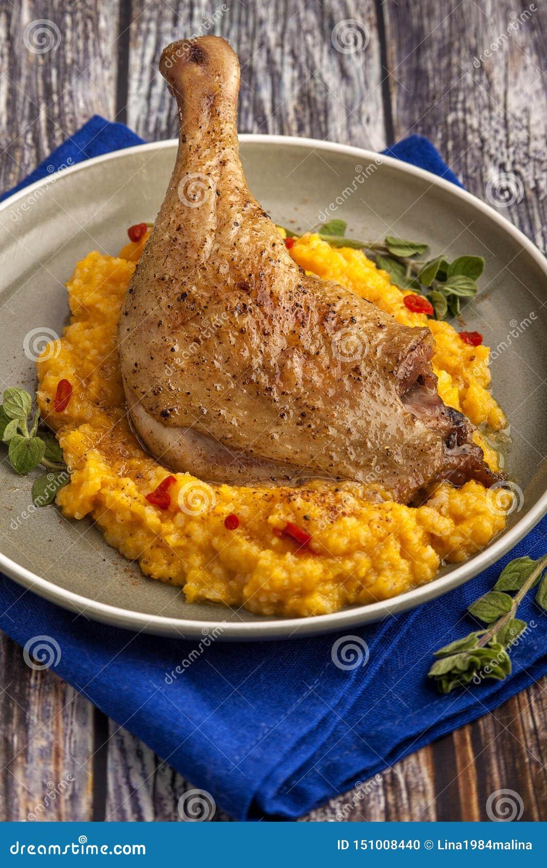 Roasted duck leg with pumpkin puree