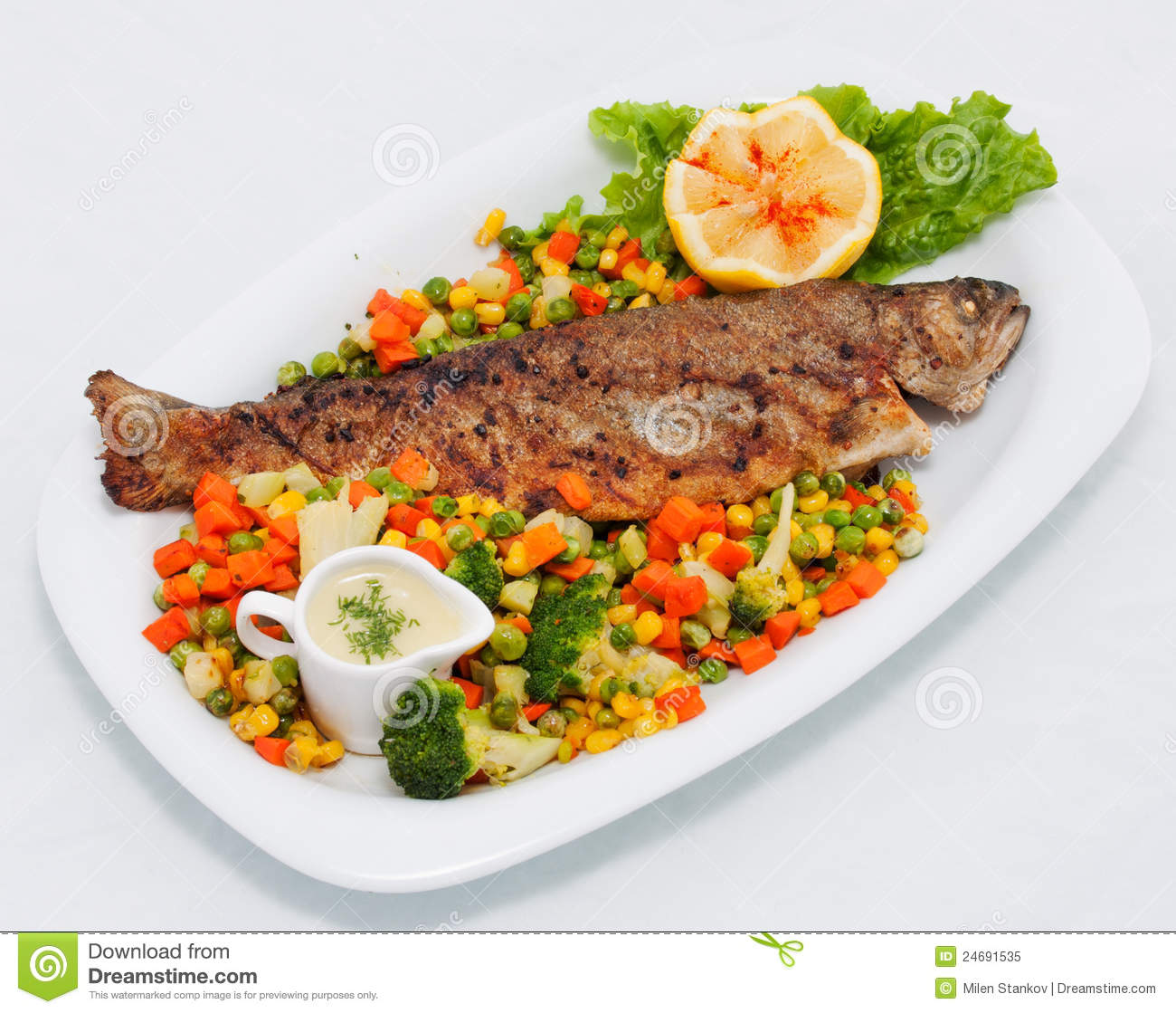 Roasted fish with vegetables stock image image 24691535 for Fish with vegetables