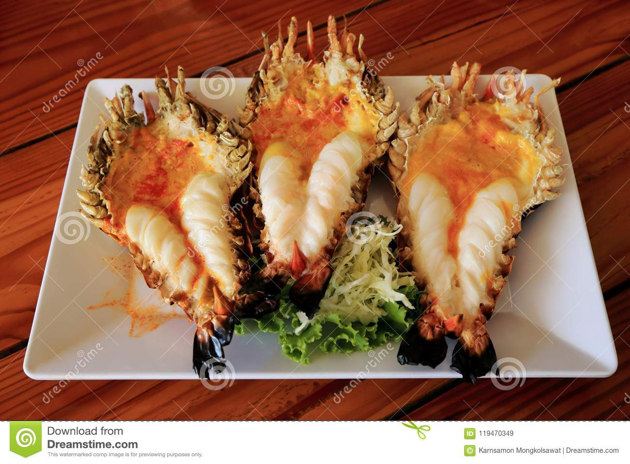 Roasted Grilled Giant River Shrimp Or Prawn On White Plate Thai