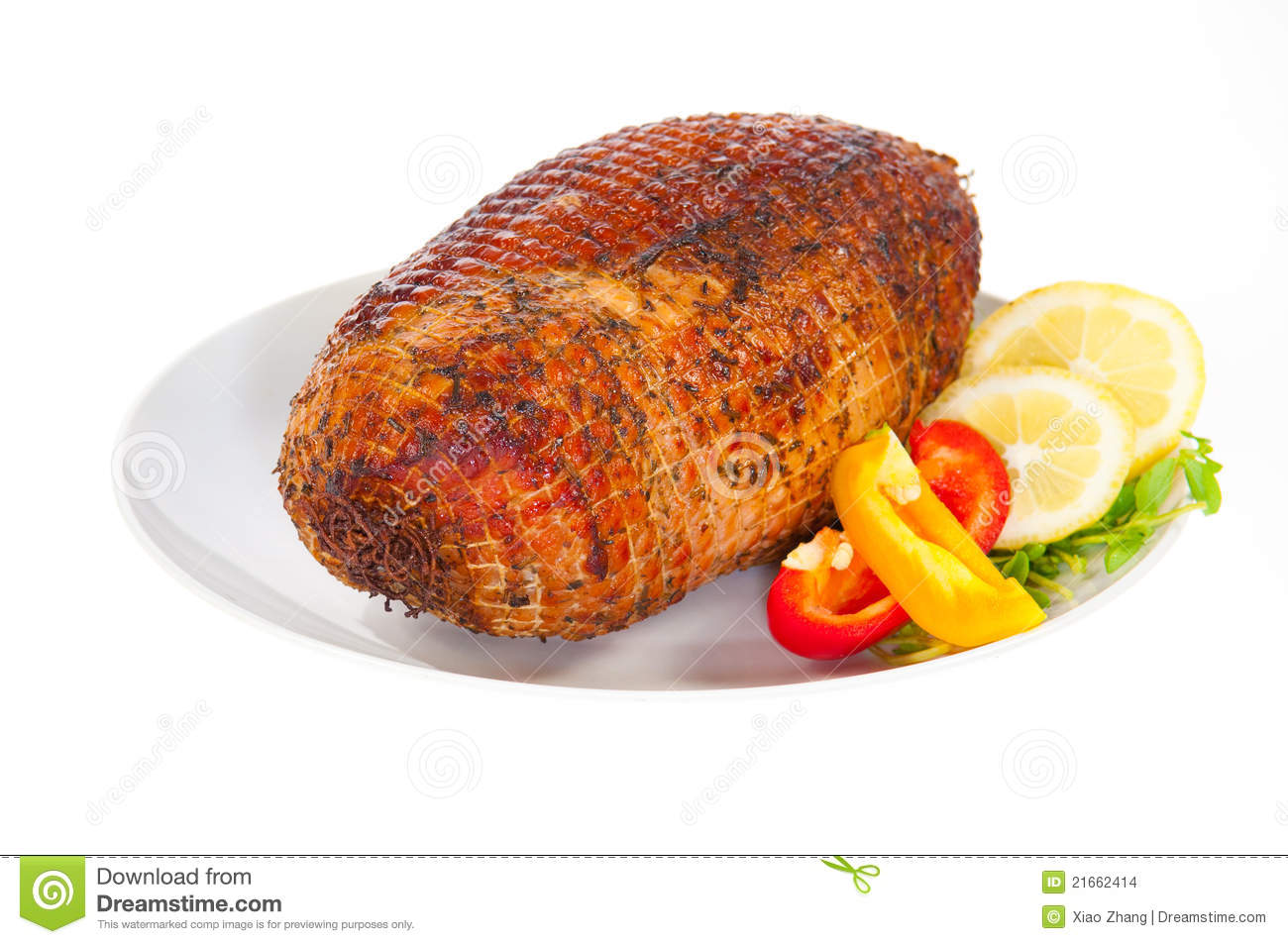 Roasted Ham For Christmas With Chill And Lemon Stock Images - Image ...
