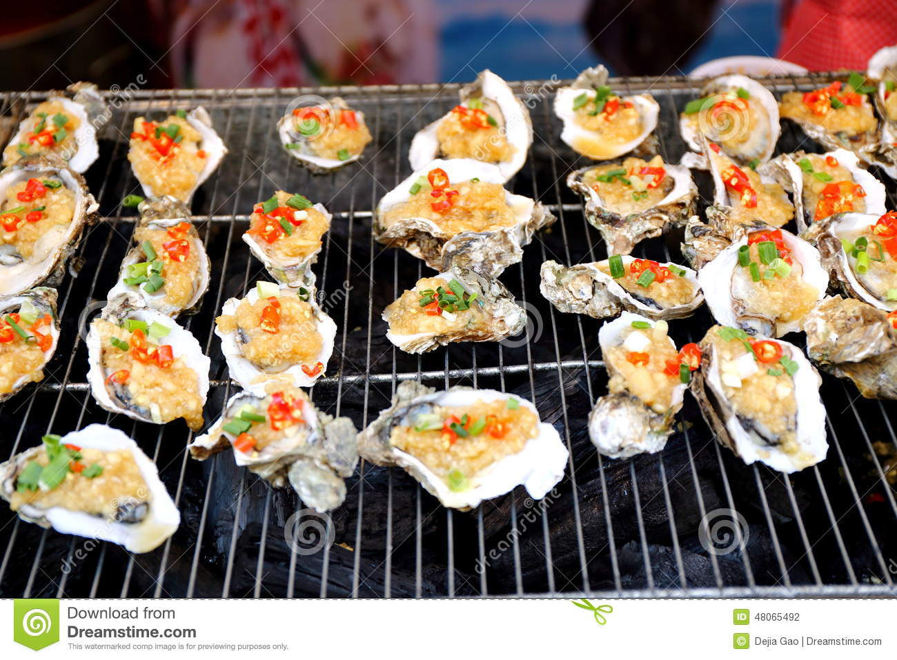 Grilled oyster seafood chinese cuisine food stock photo for Asia oriental cuisine