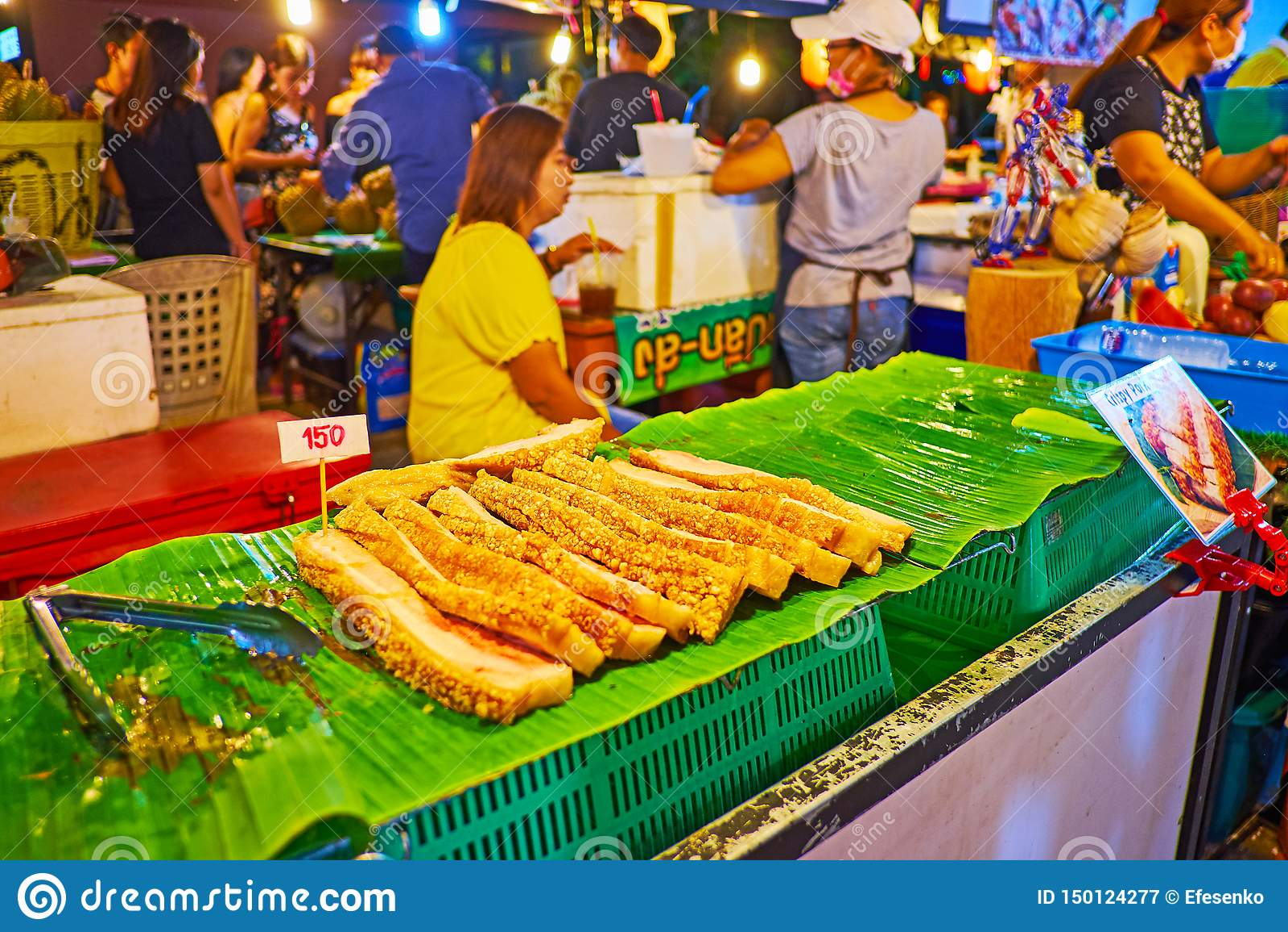 Roasted pork belly in Ao Nang Night Market, Krabi, Thailand