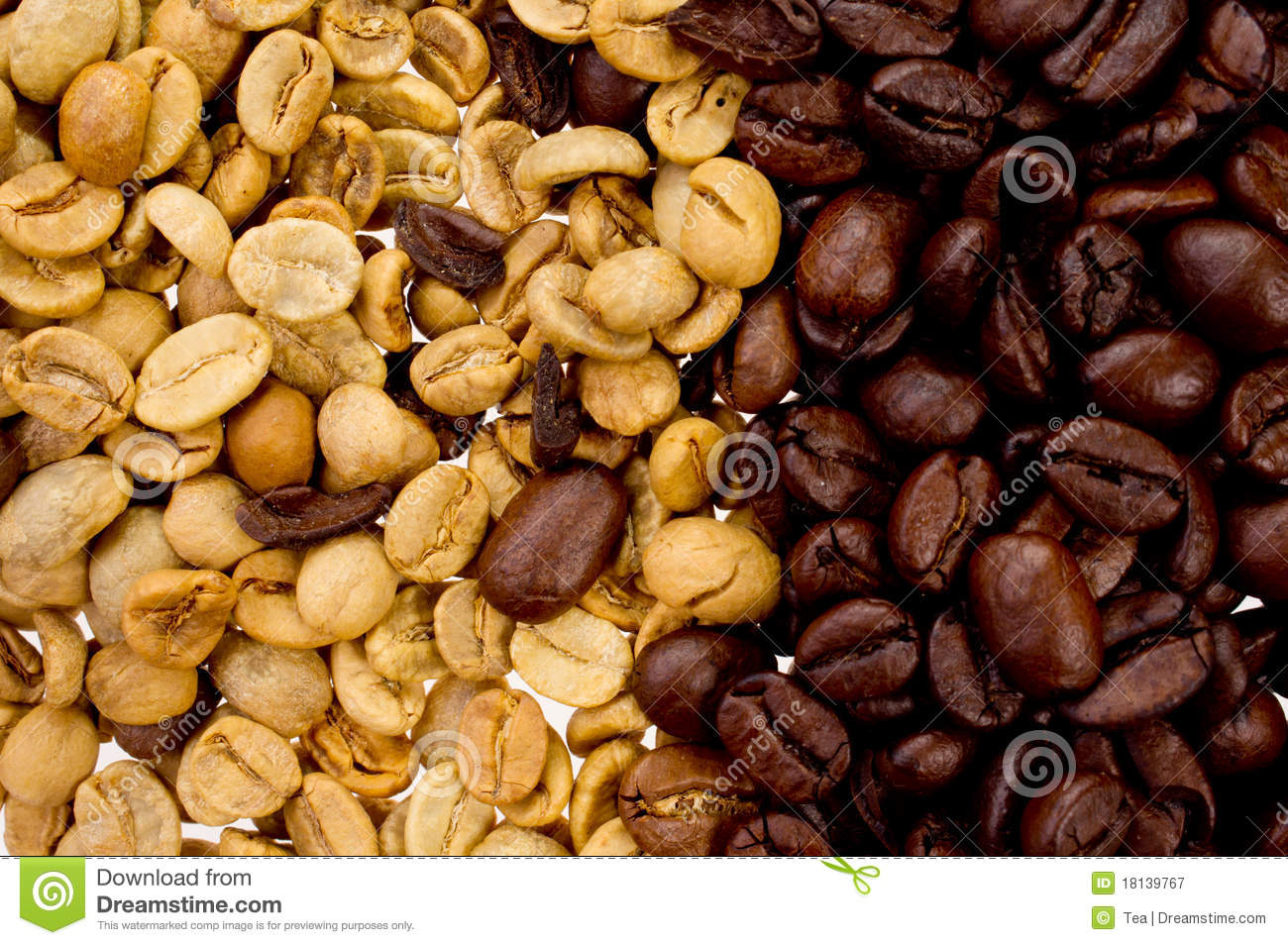 Roasted And Raw Coffee Beans Royalty Free Stock Photography