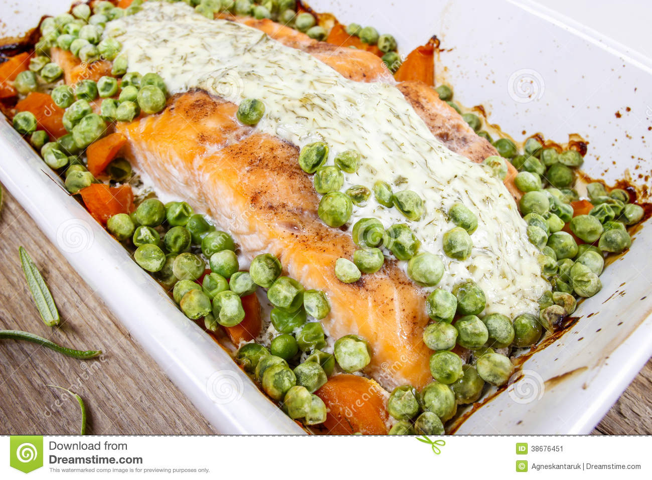 Roasted Salmon With Dill Sauce And Green Peas. Stock Image - Image ...