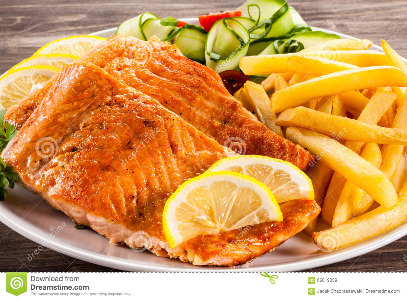 Roasted salmon with french fries stock photo image 66019039 for Fish dish menu