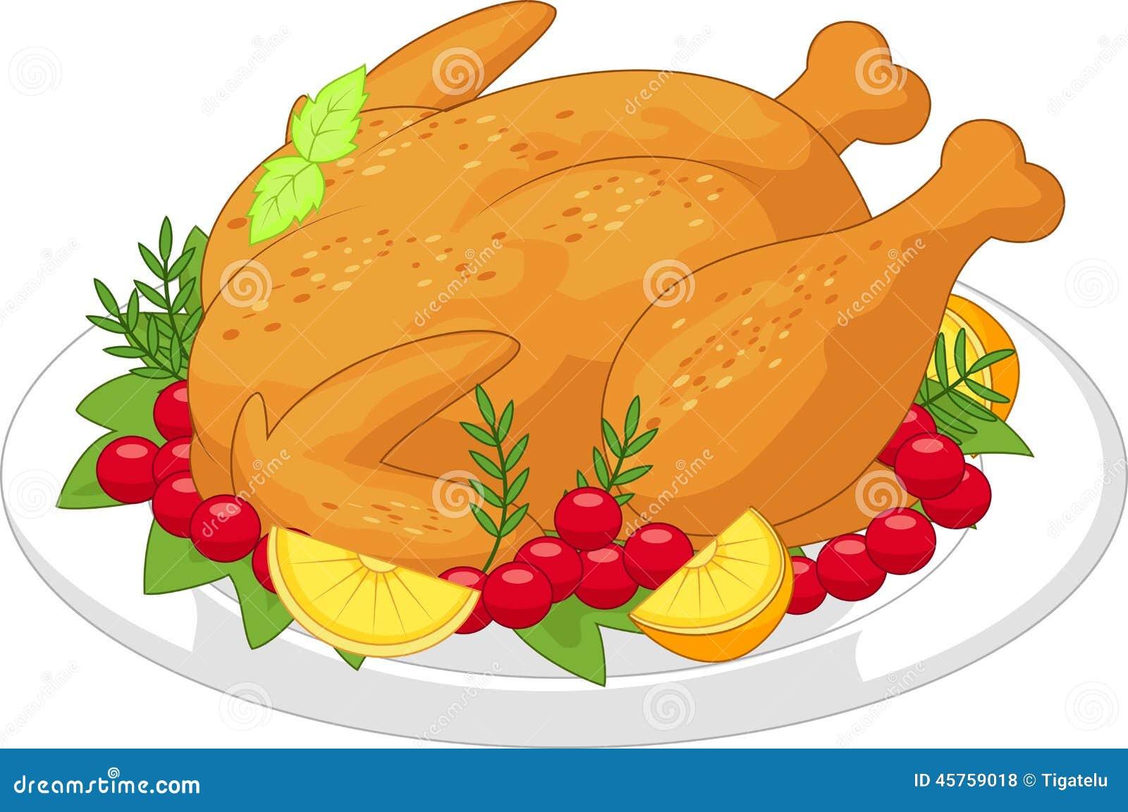 Roasted turkey cartoon stock vector. Illustration of ...
