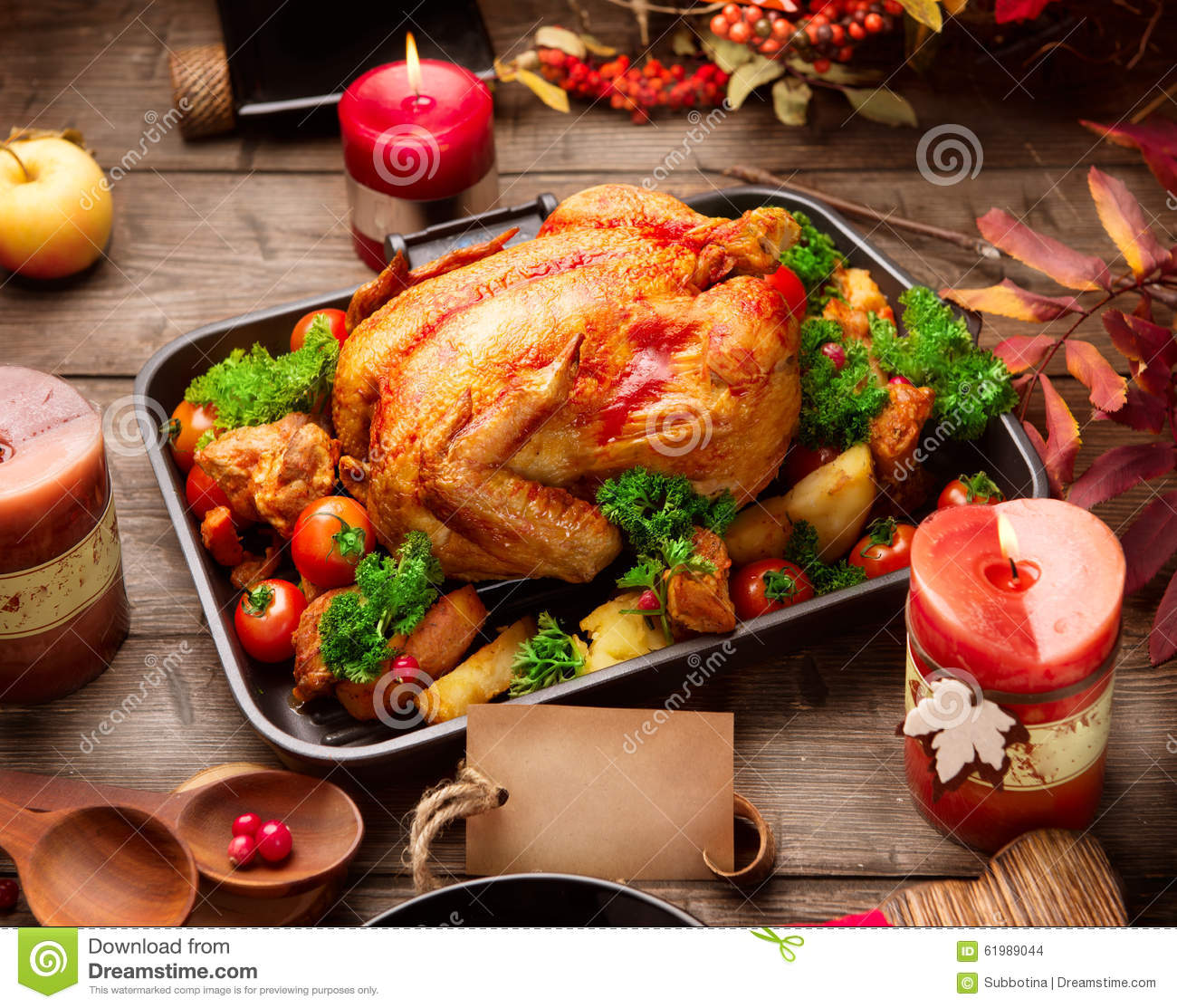 Roasted turkey garnished with potato. Thanksgiving or Christmas dinner