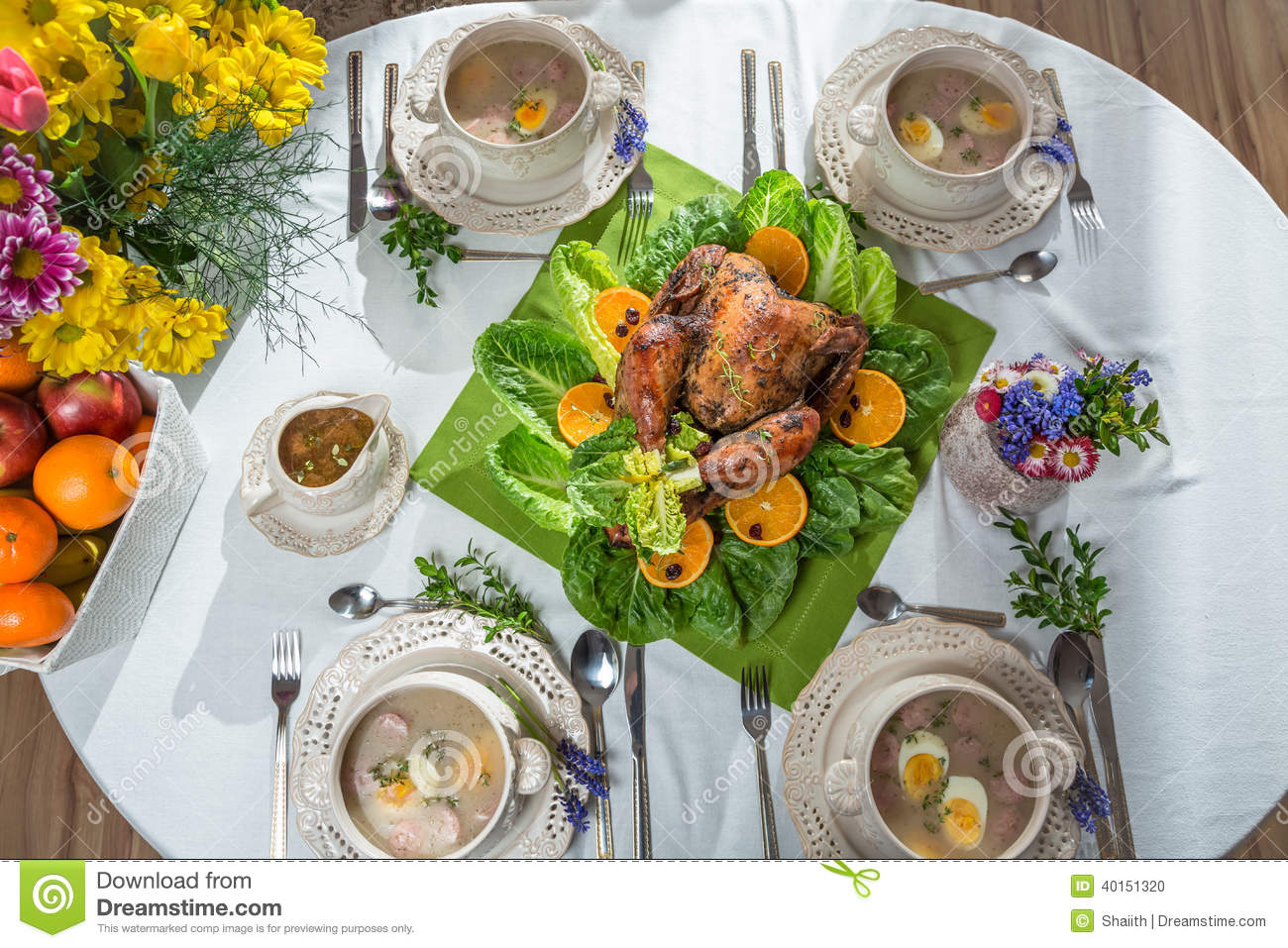 Roasted Turkey With Oranges Served On Lettuce Served With Soup Stock ...