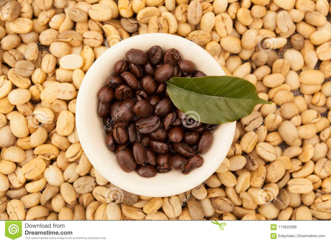 Unroasted Coffee Beans >> Roasted And Unroasted Coffee Beans Stock Photo Image Of