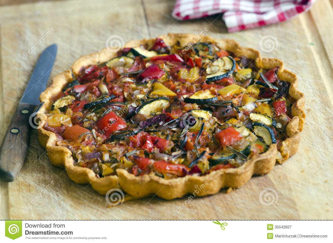Roasted vegetable tart with buttery sundried tomato shortcrust pastry.