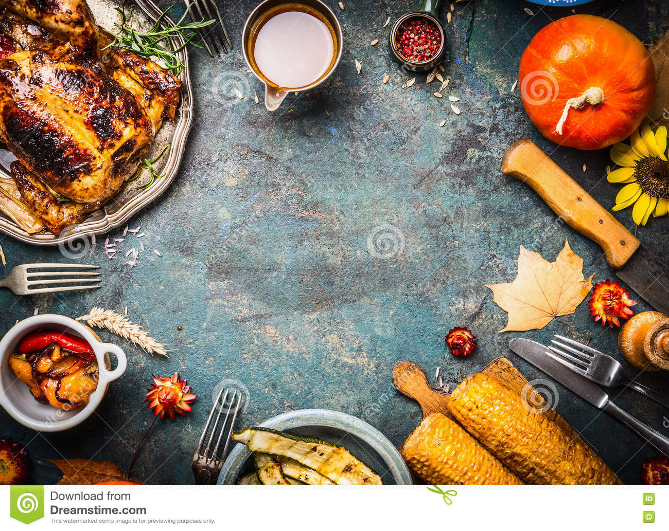Download Roasted Whole Chicken Or Turkey With Sauce And Grilled Autumn Vegetables: Corn,pumpkin ,paprika On Dark Rustic Background, Top Vie Stock Image - Image of feast, fall: 74685235