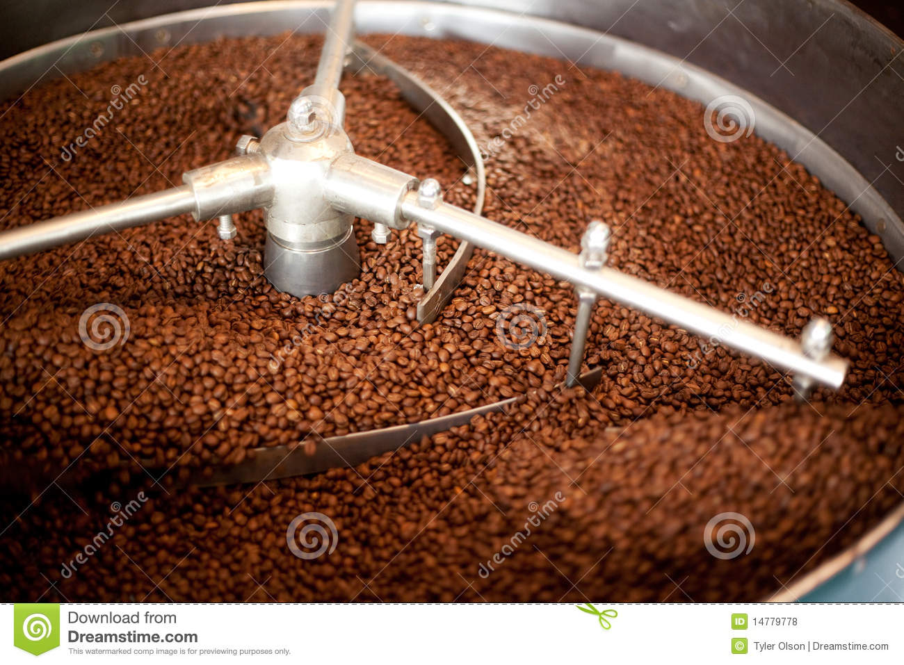 machine which cools freshly roasted coffee beans. Shallow depth of ...