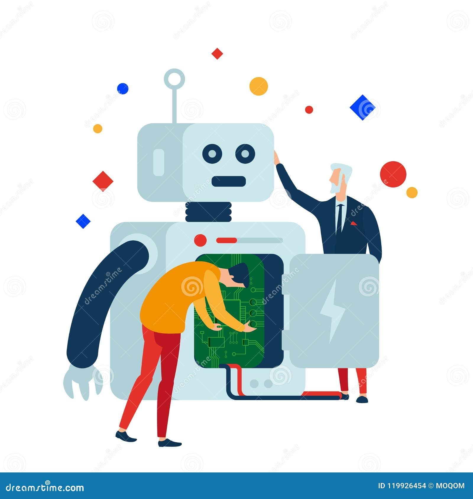A robótica cria, programa e repara robôs