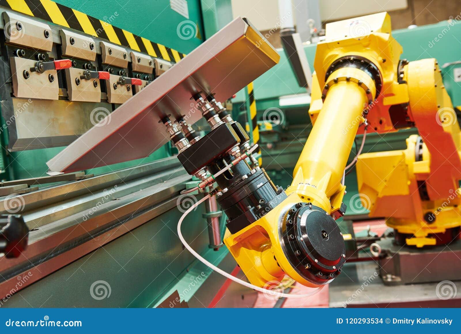 Robótica no freio da imprensa hidráulica ou na máquina de dobra para a chapa metálica
