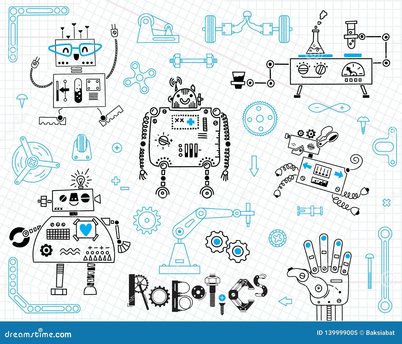 Robótica para crianças Jogo de elementos do projeto Robôs e detalhes para a construção Ilustração do vetor