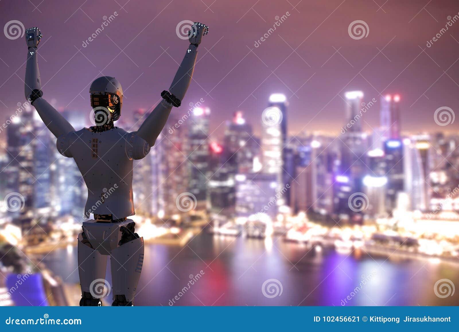 Robô com mãos acima