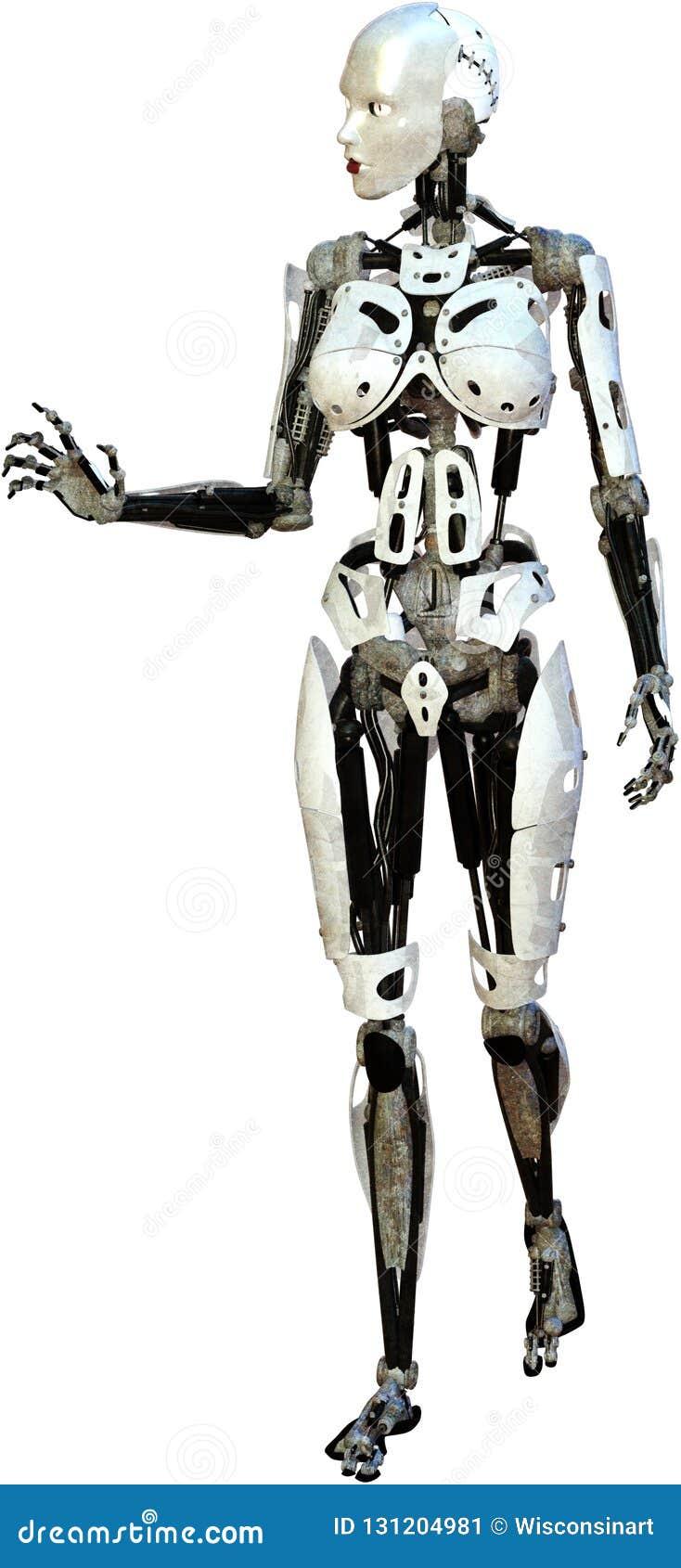 Robô da mulher, Cyborg, máquina, isolado, mecânica